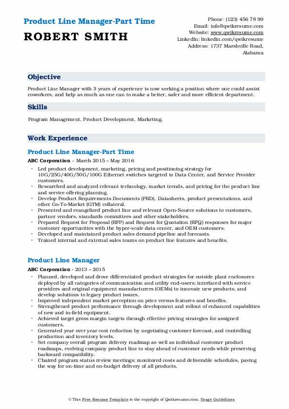 Product Line Manager-Part Time Resume Example