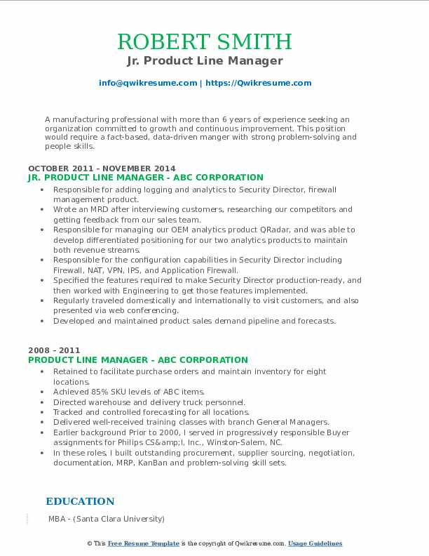 Jr. Product Line Manager Resume Template
