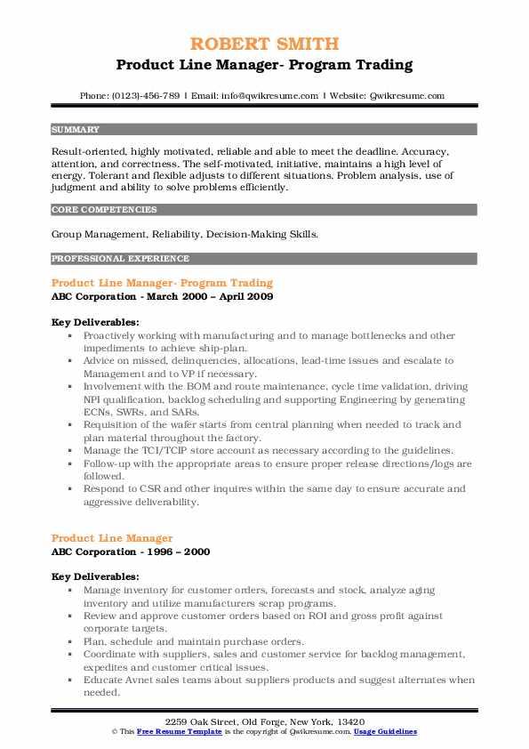 Product Line Manager- Program Trading Resume Model