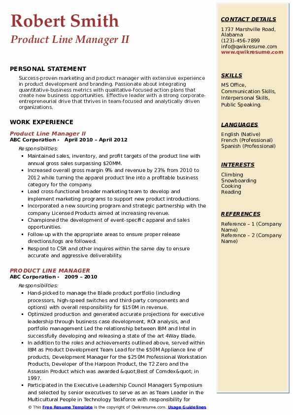 Product Line Manager II Resume Format