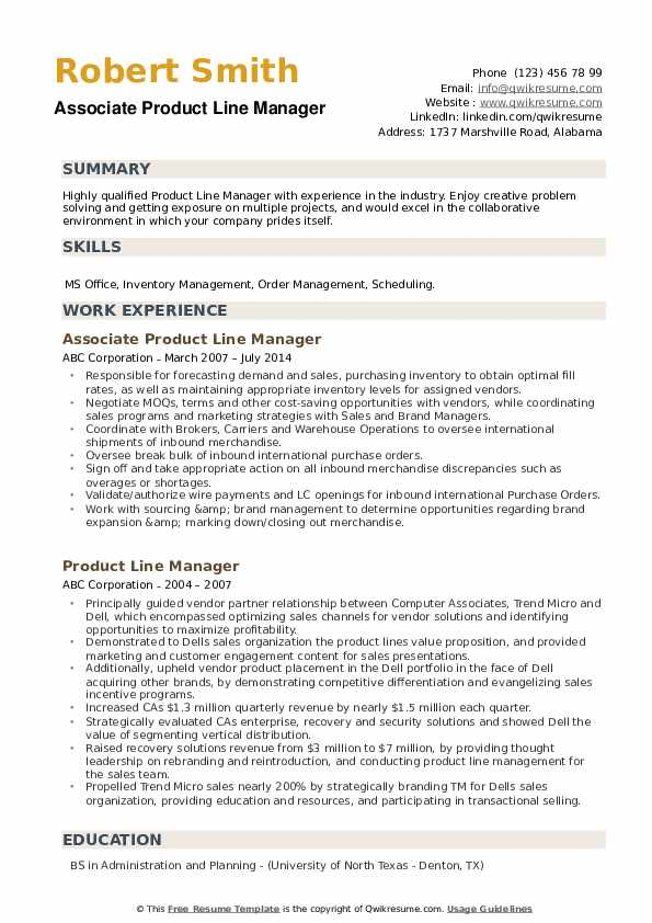 Associate Product Line Manager Resume Template