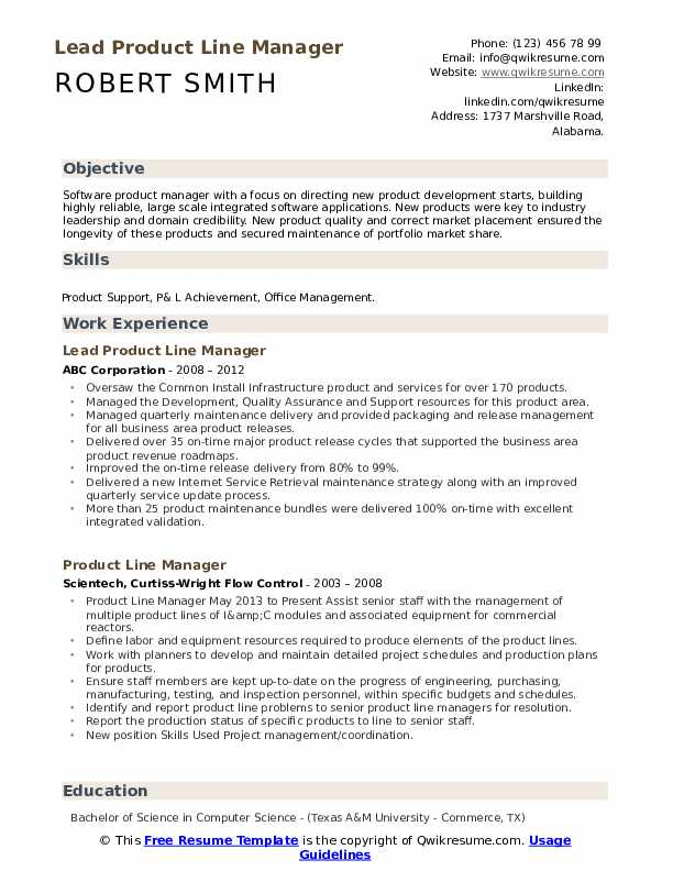 Lead Product Line Manager Resume Sample