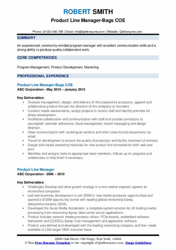 Product Line Manager-Bags COE Resume Sample
