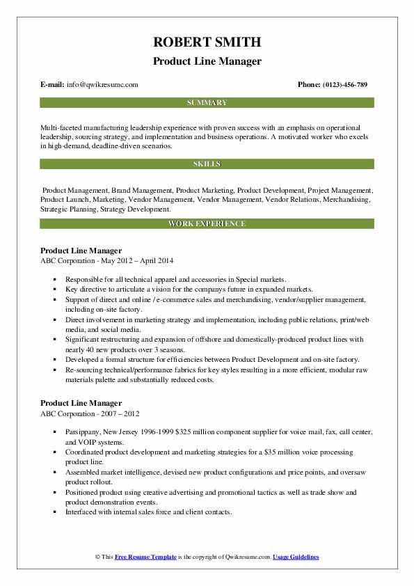 Product Line Manager Resume example