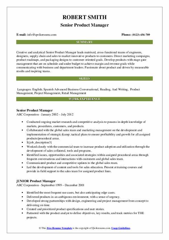 Senior Product Manager Resume Model
