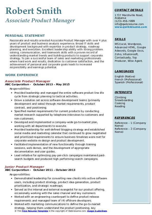 Associate Product Manager Resume Model
