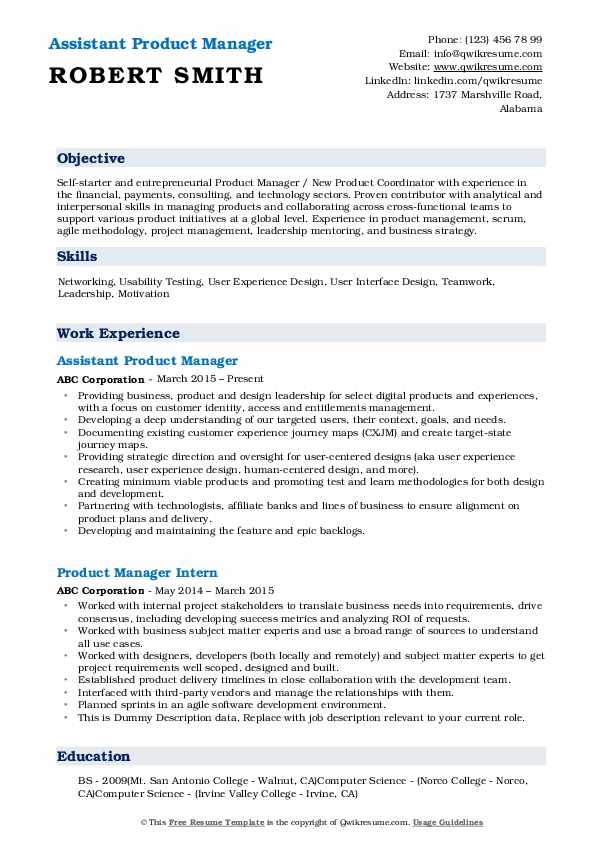 Assistant Product Manager Resume Sample