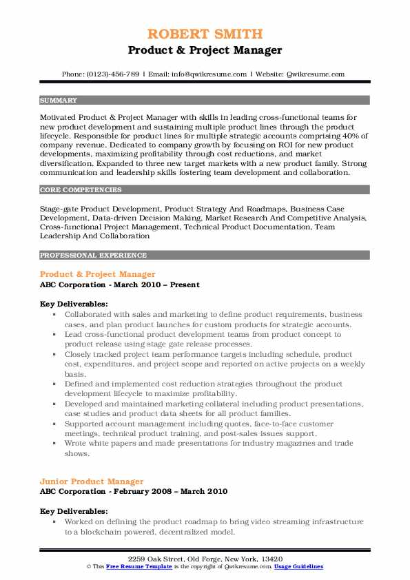 Product & Project Manager Resume Format