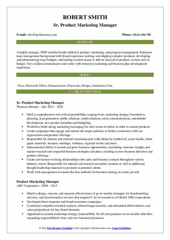 Sr. Product Marketing Manager Resume Example