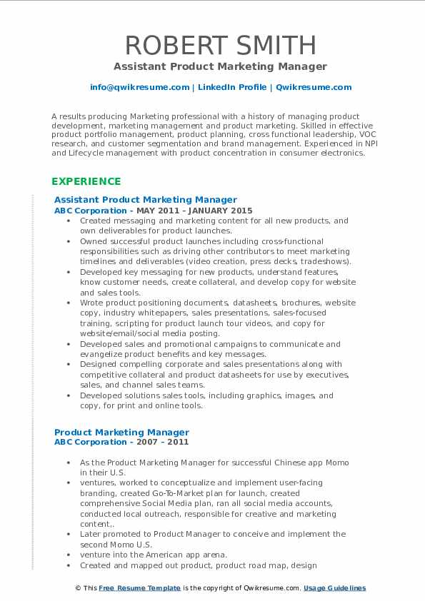 Assistant Product Marketing Manager Resume Sample