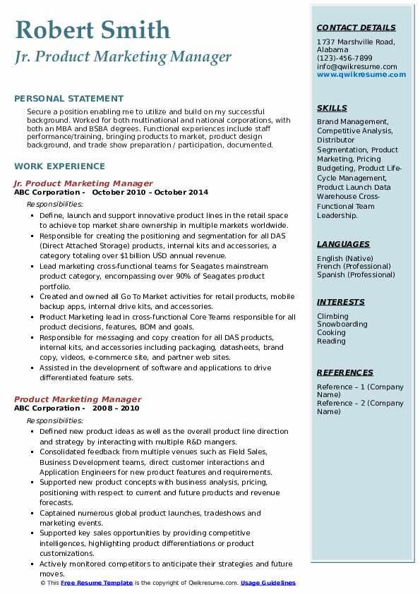 Jr. Product Marketing Manager Resume Format