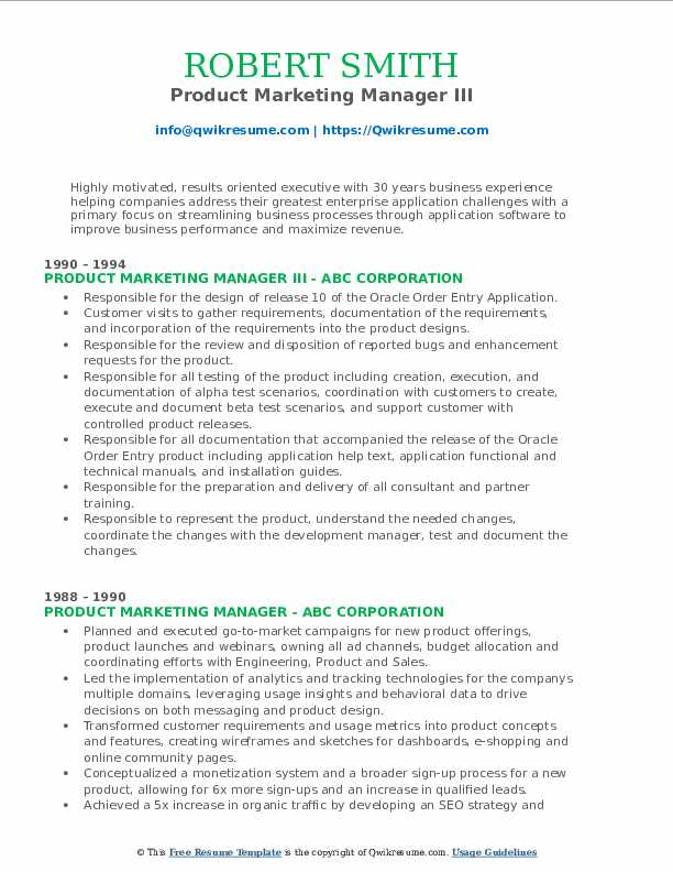 Product Marketing Manager III Resume Format