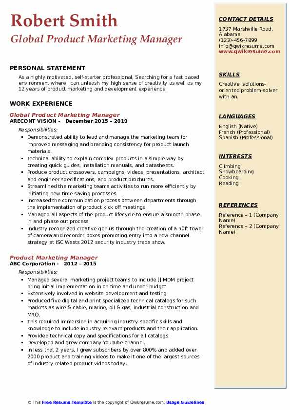 Global Product Marketing Manager Resume Template