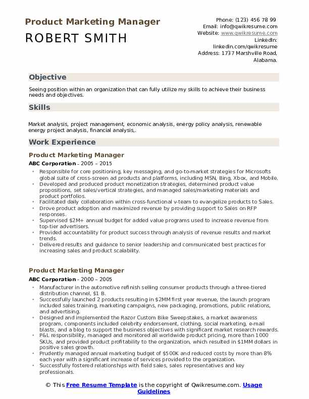 Product Marketing Manager Resume example