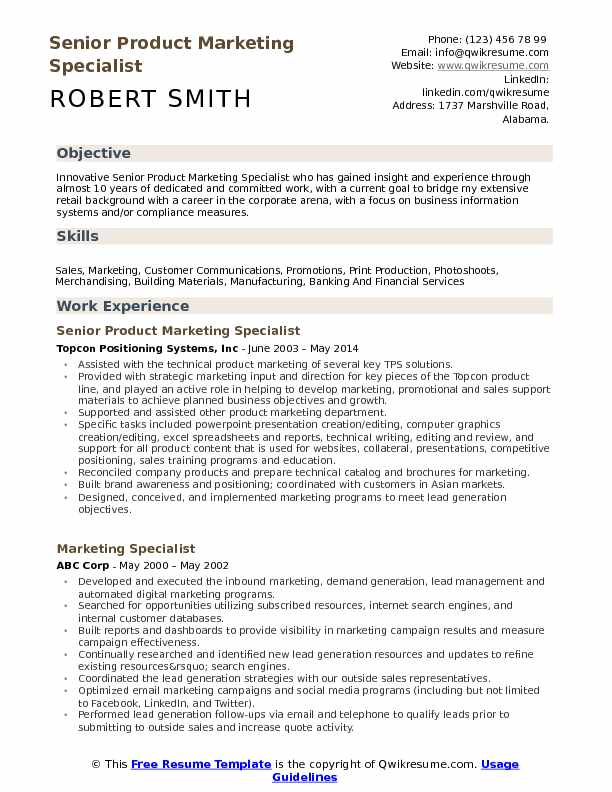 Senior Product Marketing Specialist Resume Format