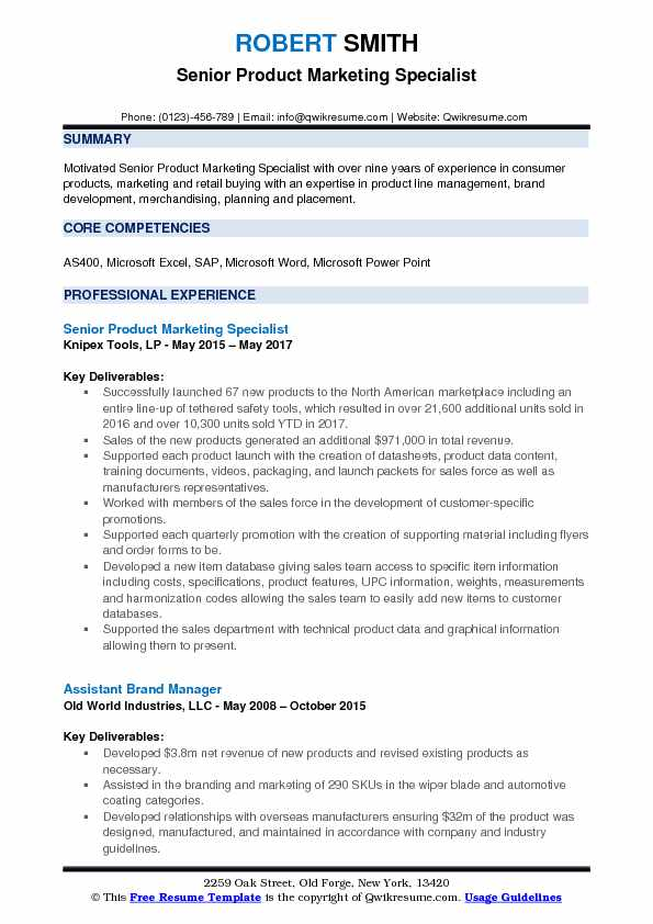 Senior Product Marketing Specialist Resume Example