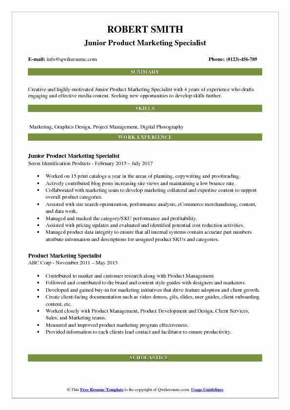 Junior Product Marketing Specialist Resume Format