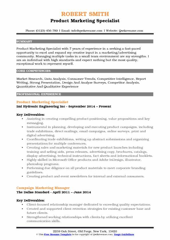Product Marketing Specialist Resume Template