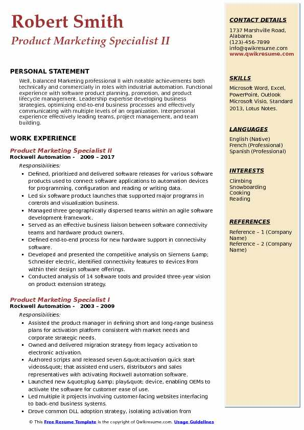 Product Marketing Specialist II Resume Model