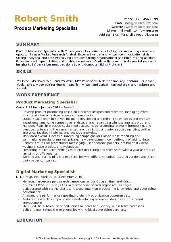 Product Marketing Specialist Resume example