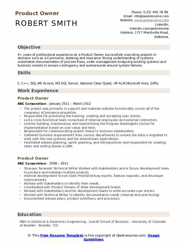 product owner resume samples