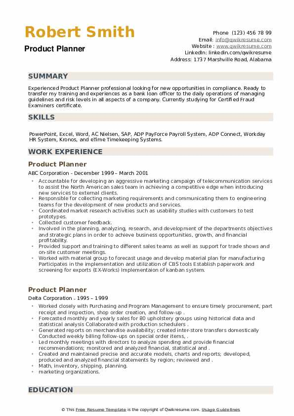 Product Planner Resume example