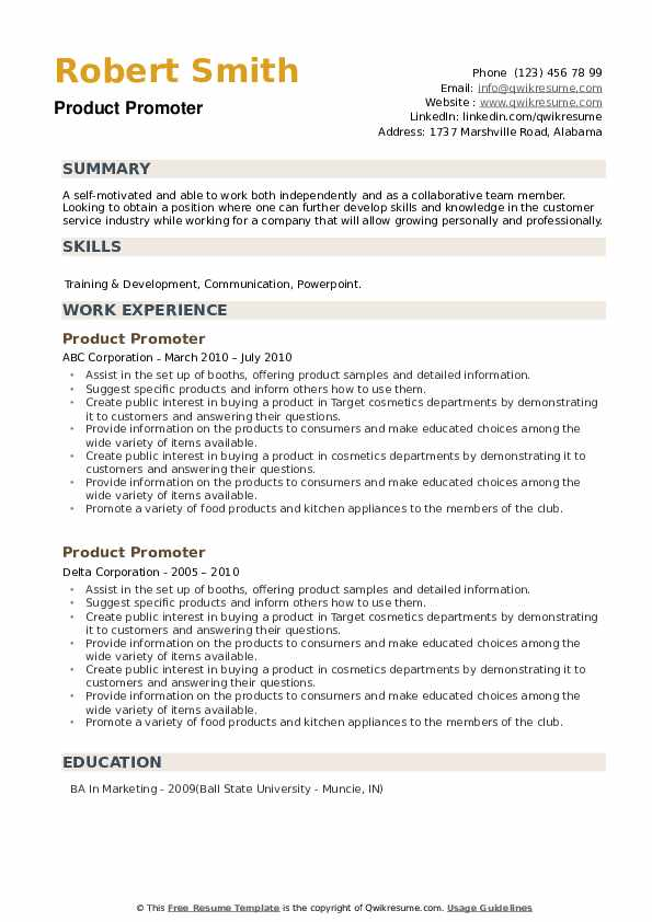 Product Promoter Resume example