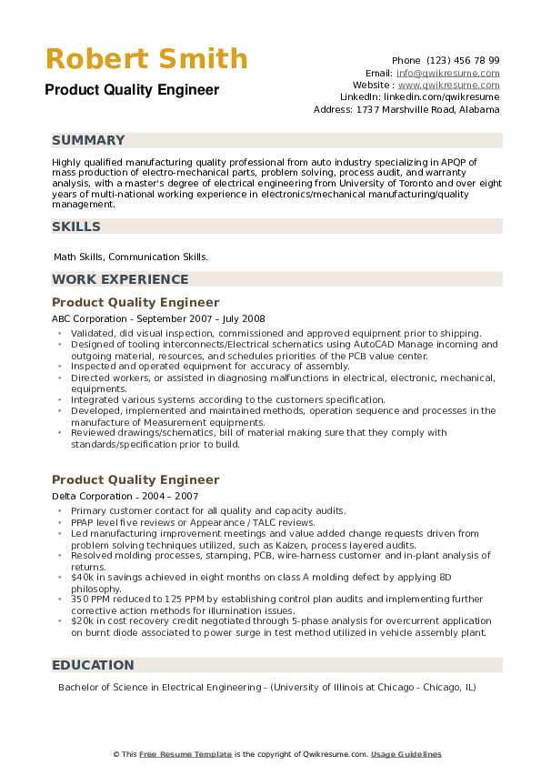 Product Quality Engineer Resume example