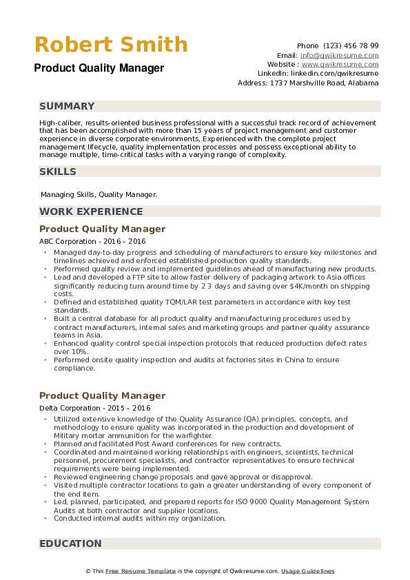Product Quality Manager Resume example