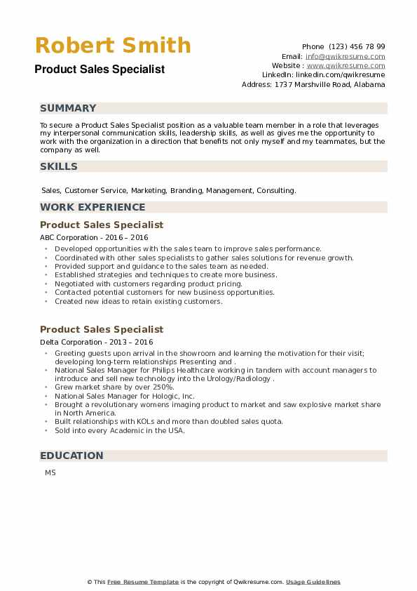Product Sales Specialist Resume example