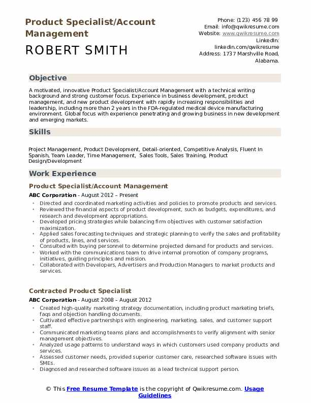Product Specialist/Account Management Resume Template
