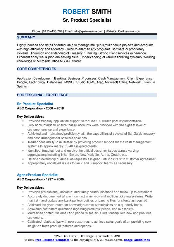 Sr. Product Specialist Resume Format
