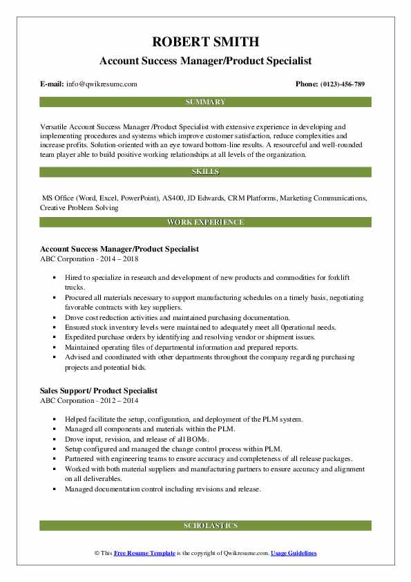 Account Success Manager/Product Specialist Resume Example