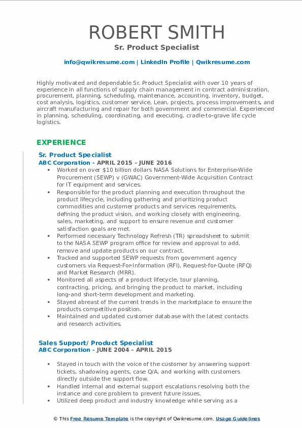 Sr. Product Specialist Resume Template