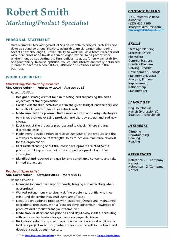 Marketing/Product Specialist Resume Sample