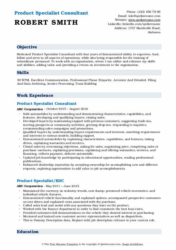 Product Specialist Consultant Resume Model