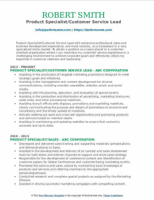 Product Specialist/Customer Service Lead Resume Format