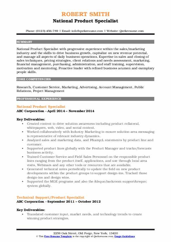 National Product Specialist Resume Example