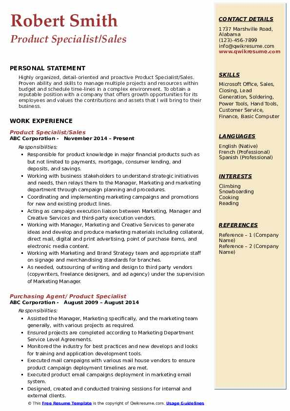 Product Specialist/Sales Resume Model