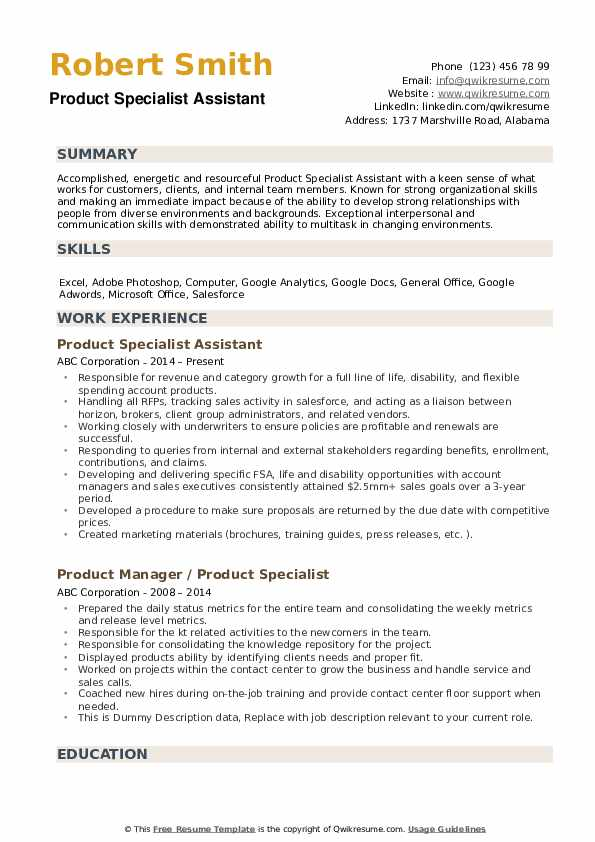 Product Specialist Resume example