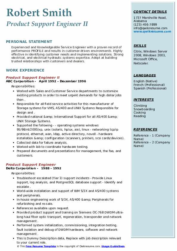 product support engineer resume samples  qwikresume