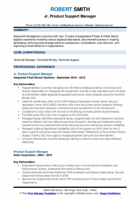 product support manager resume samples  qwikresume