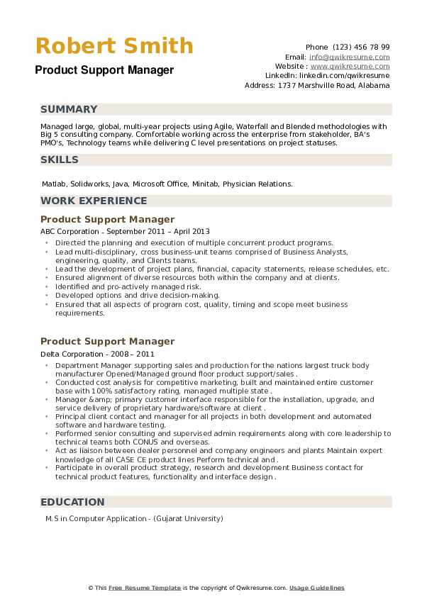 Product Support Manager Resume example