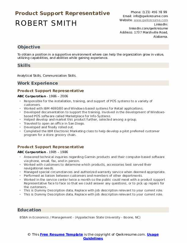 Product Support Representative Resume example