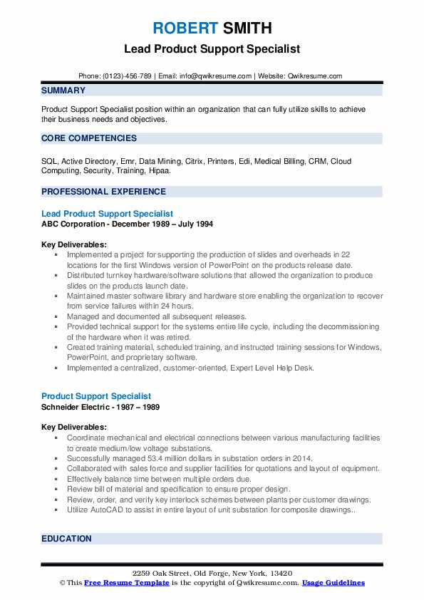 Lead Product Support Specialist Resume Template