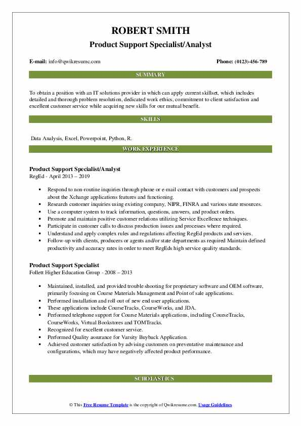 Product Support Specialist/Analyst Resume Sample