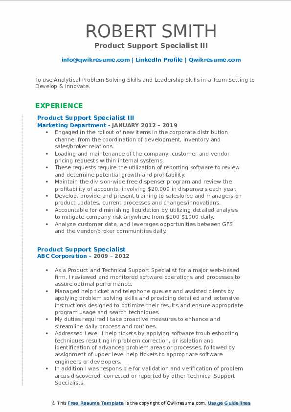 Product Support Specialist III Resume Model