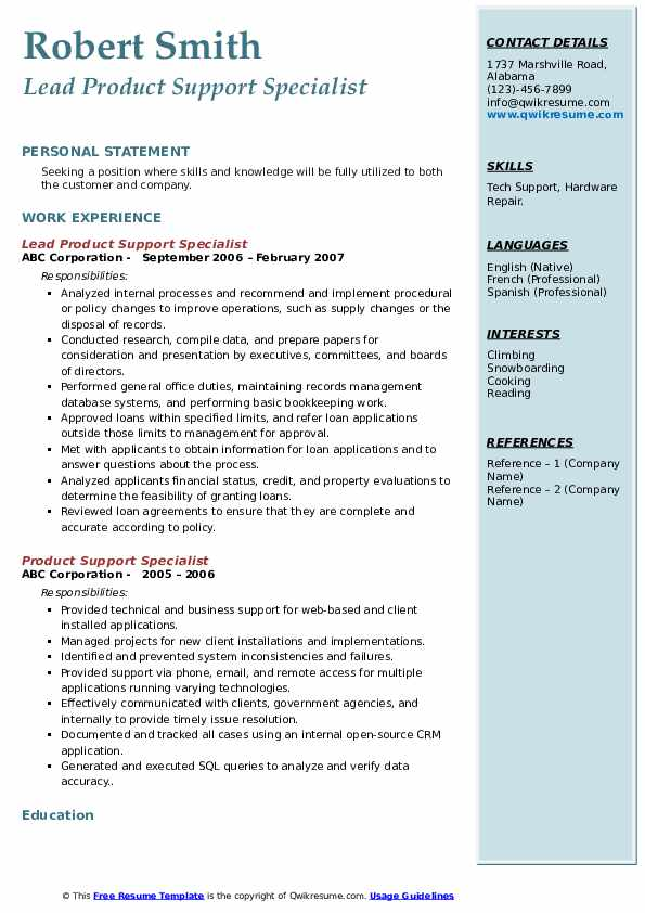 Lead Product Support Specialist Resume Sample