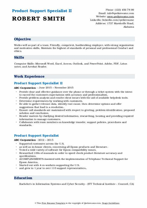 Product Support Specialist II Resume Model