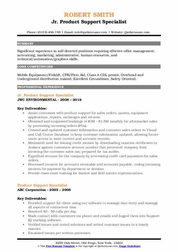 Jr. Product Support Specialist Resume Format